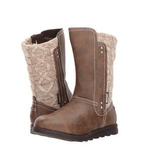 MUK LUK BOOTS Stacy Brown Faux Knit Moccasin